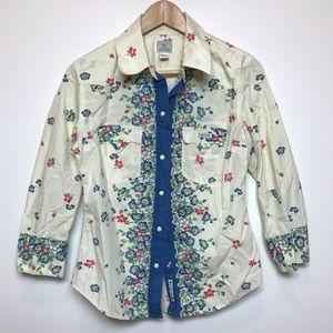 Lucky Brand Dungarees Floral Snap Button Shirt M